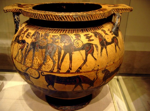 Black-figure vase detailing the Trojan War c. 590 to 570 BCE.