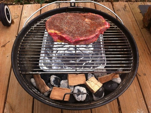You can set the Weber Jumbo Joe up as a slow cooking barbecue pit.  This is a chuck roast I smoked for seven hours.