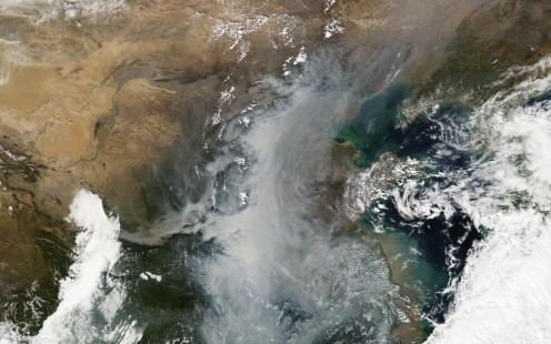 Smog covering a certain part in China.