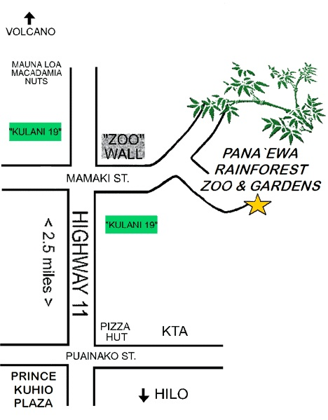 Map to the Panaewa zoo on the Big Island