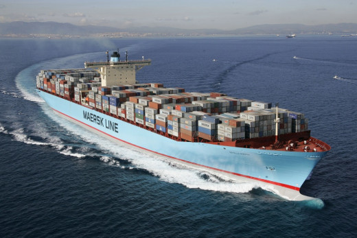 The worlds biggest container ship capable of carrying up to 15,200 containers