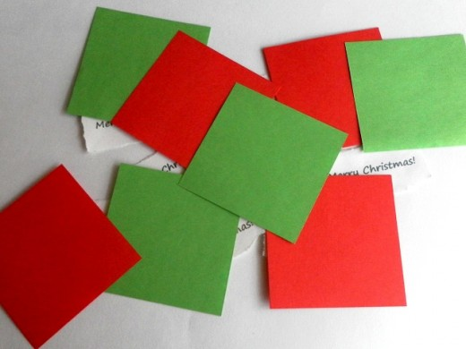Cut the coloured papers into squares