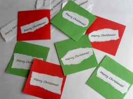 Paste the greetings on the coloured squares