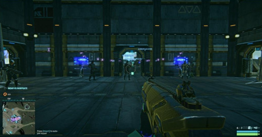 Initial spawn room in Planetside 2.