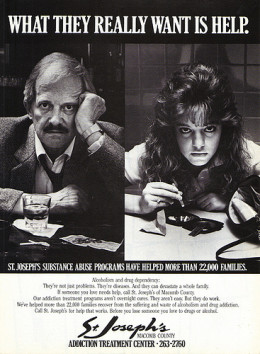 As depicted in this add form the 1970's, alcoholism treatment is all about people getting help to beat the addiction.