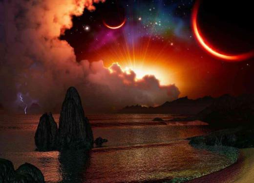 red moons fantasy wallpaper