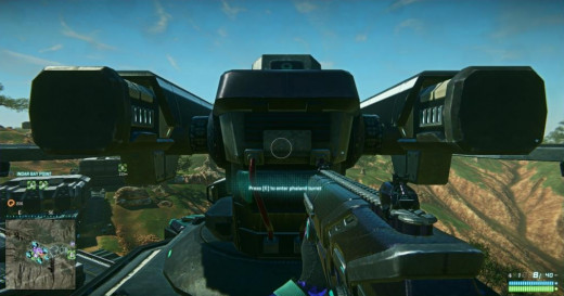 A turret on top of a base in Planetside 2.