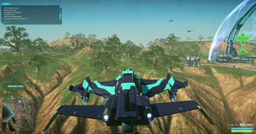 An aircraft flying in Planetside 2, right outside of a main base.