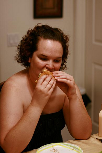 Binge-eating involves not being able to stop eating.