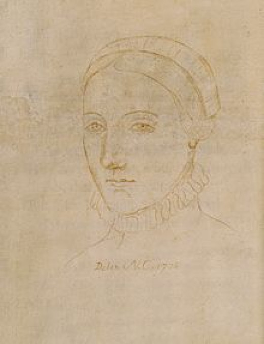 Tracing of an Elizabethan lady by Sir Nathaniel Curzon, purported to be Anne Hathaway.