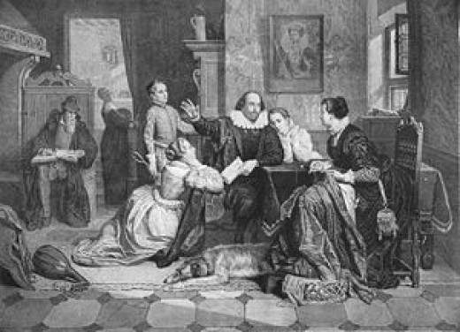 Shakespeare family circle. His children listening to his stories, his wife with needlework. 19th C. engraving.