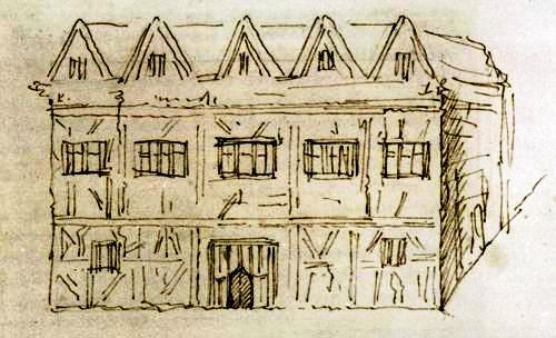 A sketch by George Vertue of New Place in 1737. Shakespeare's final home, where he died and where his wife had life residency .