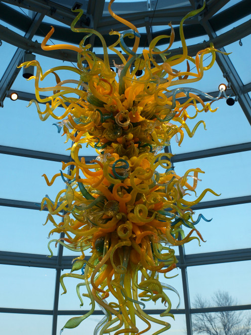 This Dale Chihuly masterpiece greets visitors at the Phipps Conservatory entrance.