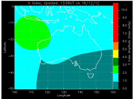 Weird K-Index on off shore Western Australia, 16 December 2012. Hard to say if this means anything but it sure looks peculiar.