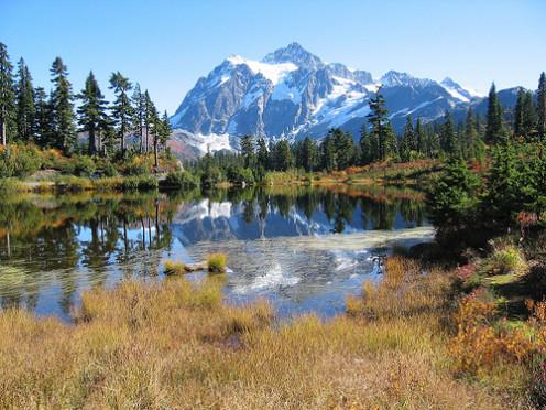 Mount Shuksan overlooking Baker Lake