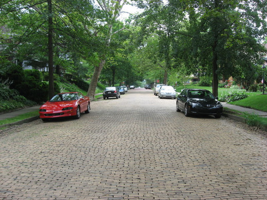 Streets paved with brick are only one of many historical features of Allegheny County.