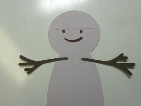 arms adhered together then adhered to snowman