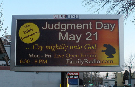 A billboard advertising Harold Camping's prediction for the end of the world.