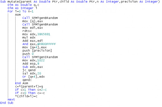 An example of assembly language programming in FreeBasic.  FreeBasic also has reasonable pointer handling capabilities.