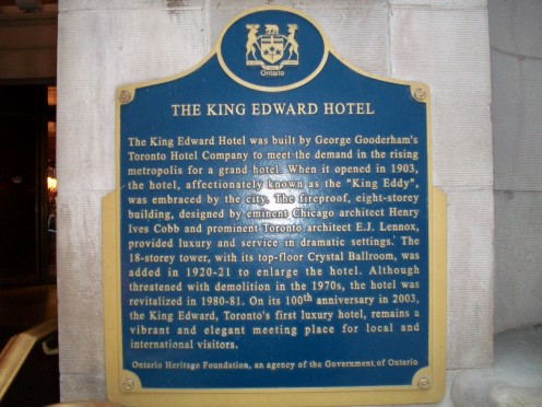 Historical plaque, King Edward Hotel, Toronto