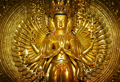 Avalokiteshvara Bodhisattva, with his one thousand arms and eyes,portrayed in different cultures as either male or female.