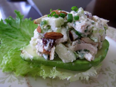 Chicken Salad on Avocado Halves
