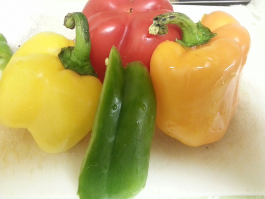 Yellow, Green and Red Capsicum