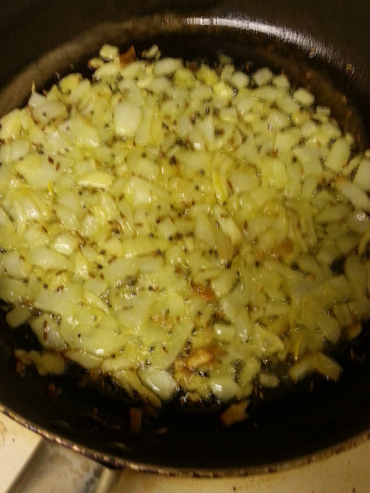 Fry Onion, Ginger and Garlic