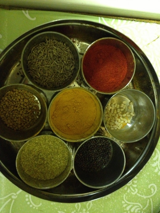 Indian Spices: Mustard, cumin seeds, Chilli, Coriander and Turmeric Powder
