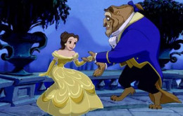 "Belle and Beast from the Disney animated adventure ""Beauty and the Beast"".  The film was re-released as a 3-D variant in January, 2012."