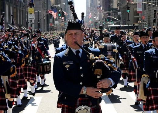 This photograph of members of the U.S. Coast Guard Pipe Band marching up Fifth Avenue in New York City on March 17, 2010 was taken by Petty Officer Seth Johnson.