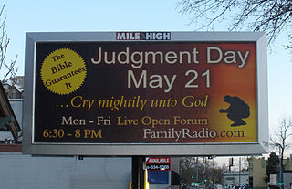 Sign for Family Radio's prediction of the end of the world at 1228 Delaware Street between 12th and 13th Avenues in Denver.