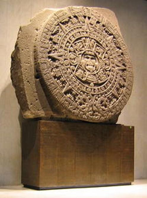 """The Aztec """"Calendar Stone"""". Museo Nacional de Antropología, Mexico City."""