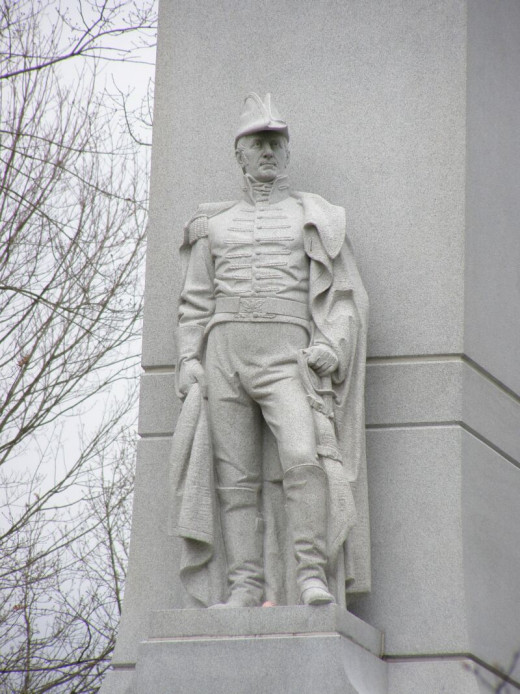 The monument at the Tippecanoe Battlefield features William Henry Harrison, commander of the U.S. forces