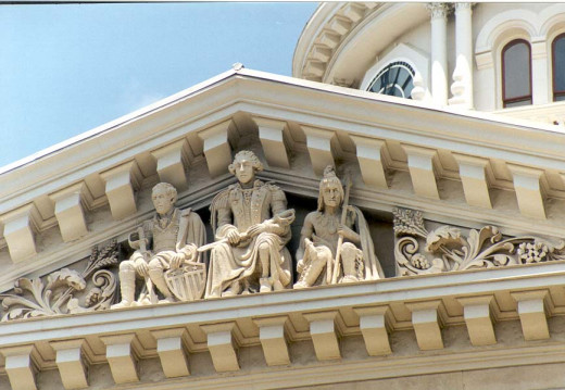 The south side of the Tippecanoe County Courthouse features Gorge Rogers Clark, George Washington & Tecumseh
