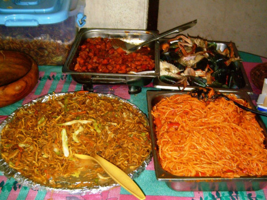 Party foods in the Philippines (Photo taken on January 7, 2012)