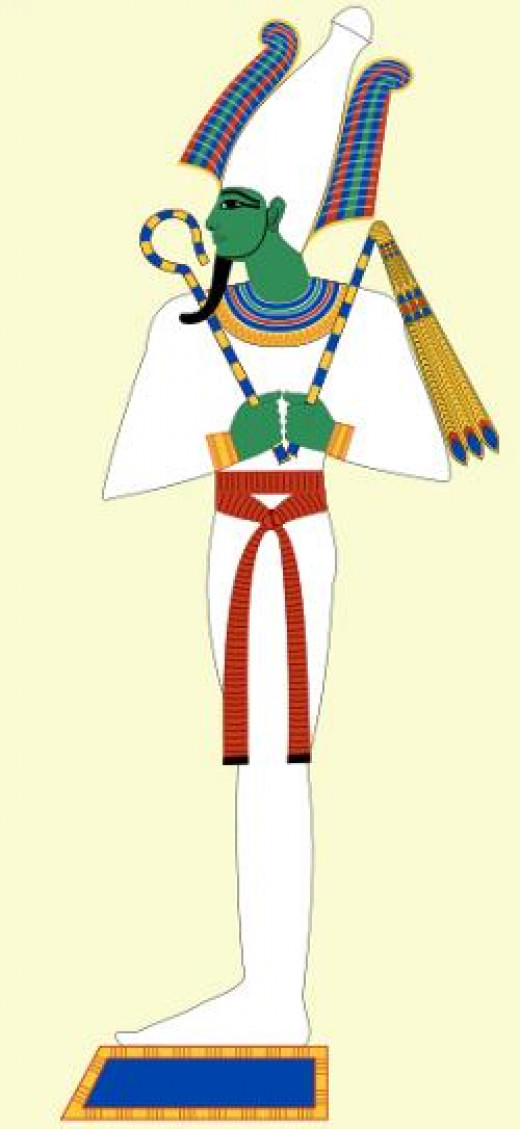 Osiris wearing formal garb of the pharaohs,together with emblems of power such as crown of Upper Egypt ( atef crown) , crook, flail of office and the ceremonial beard.He is depicted here with green skin,symbolizing fertility.