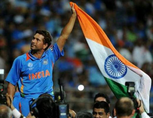Sachin Tendulkar celebrating after India won ICC World Cup
