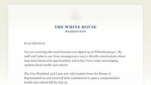 Part of an email by Barack Obama: Health Care Reform
