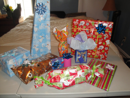 Gifts.  Please visit my other hub http://valswabb.hubpages.com/hub/How-to-Wrap-Your-Presents to learn how to easily wrap your presents!