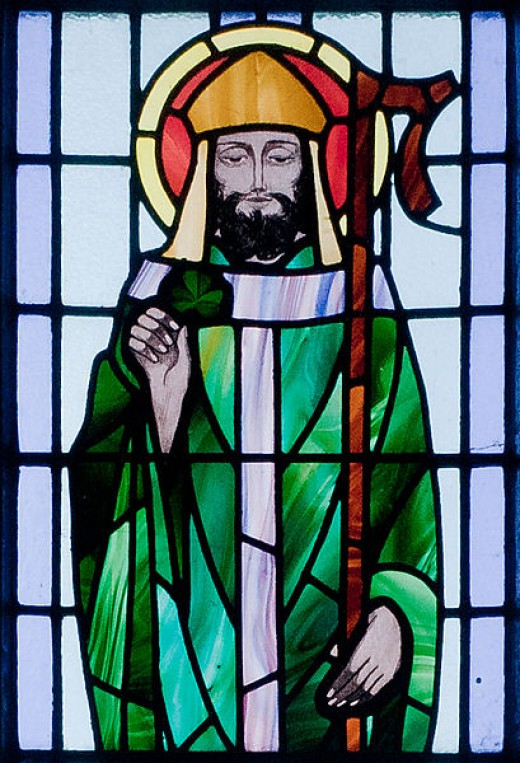 This detail of a stained glass window in St. Benin's Church in Kilbennan, County Galway, Ireland—which depicts St. Patrick—was photographed by Andreas F. Borchert on September 16, 2010.