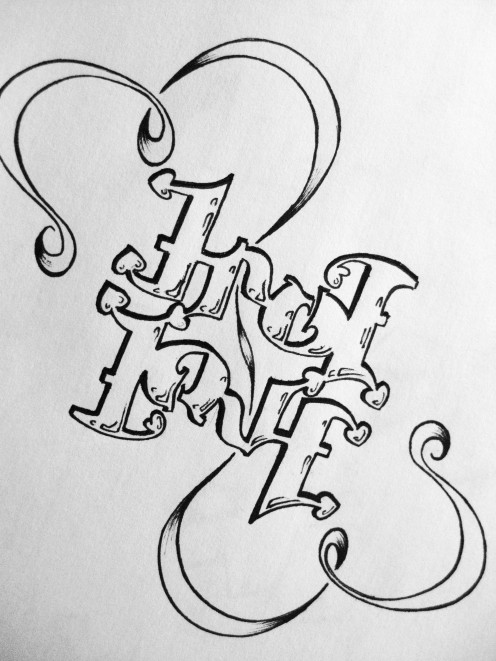 """True Love"" ambigram"
