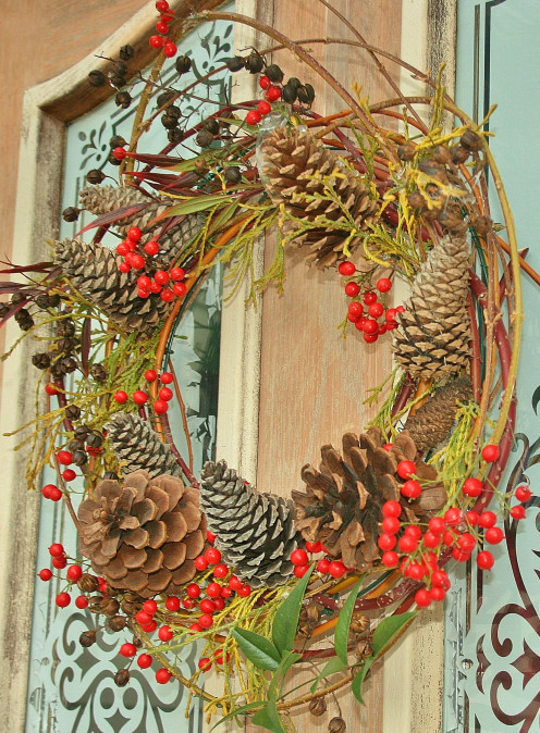 "Natural materials are used to create all of the DIY home décor projects in ""Beautiful Winter."" Pictured: my version of Norman's ""Colored Twig Wreath."""