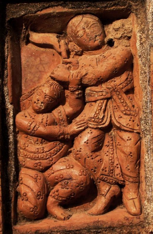 Terracotta panel showing killing of Elokeshi being killed by her husband; Ajiodhya
