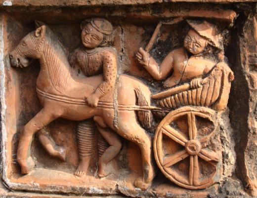 An European riding a horse drawn carriage; Bonkati