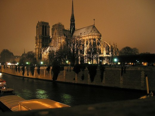 Notre Dame, Cathedral of Paris at night