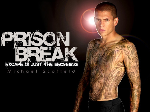 Lead Character Michael Scofield has the blue prints for the prison tattooed on his body.