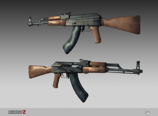 A replica of the Russian made AK-47