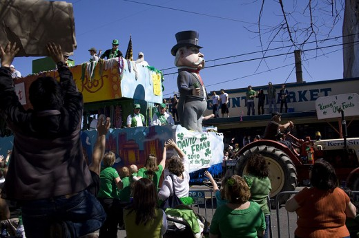 Derek Bridges photographed the Saint Patrick's Day Parade on lower Magazine Street in New Orleans, Louisiana on March 13, 2010.