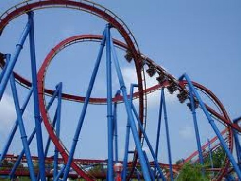 The Superman ride is a roller coaster that has the rider simulating flying.